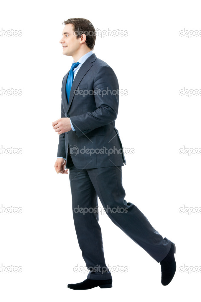 Full body portrait of walking businessman, isolated on white background — Foto Stock #6682161