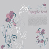 Illustrated Floral Card with Text — Stock vektor
