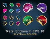 Set of Metallic Stickers — Stok Vektör
