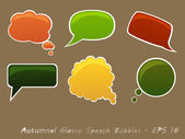 Set of Autumnal Glossy Speech Bubbles — Stock Vector