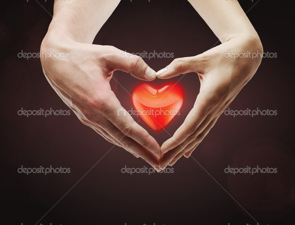 Heart shape  made of  female and male hands together.With a red heart inside — Stock Photo #6357895