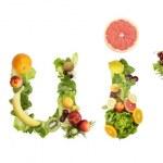 word meyve meyve beyaz zemin üzerine yapılan — Stok fotoğraf