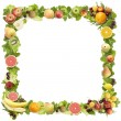 The frame made of fruits on a white background — Stock Photo
