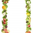 The frame made of fruits and vegetables on a white background — Stock Photo #6370153