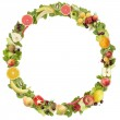 The round frame made of fruits and vegetables. Isolated on a white backgr — Stock Photo #6370208
