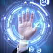 Technology scan man's hand for security or identification - Foto Stock
