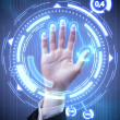 Technology scan man's hand for security or identification - Stock Photo