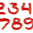 Numbers made of ketchup on white background — Stock Photo #6371747