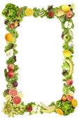 The frame made of fruits and vegetables on a white background — Stockfoto