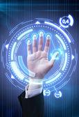 Mão tecnologia do homem varredura de segurança ou identificação — Foto Stock