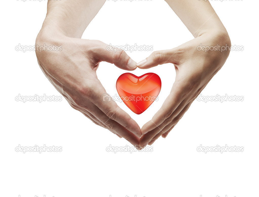 Heart shape  made of  female and male hands together.With a red heart inside. Isolated on a white background — Stock Photo #6378118