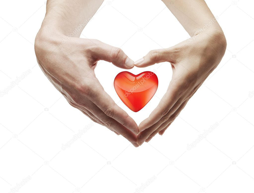 Heart shape  made of  female and male hands together.With a red heart inside. Isolated on a white background — Zdjęcie stockowe #6378118