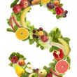 Fruit and vegetable alphabet - letter S - Stock Photo