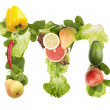 Fruit and vegetable alphabet - letter m — Stock Photo #6423675