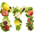 Fruit and vegetable alphabet - letter m — Stock Photo