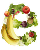 Fruit and vegetable alphabet - letter e — Stock Photo