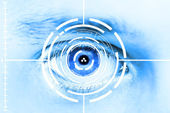 Technology scan man's eye for security or identification — Foto Stock