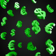 Stock Photo: Green Evro and Dollar signs rain