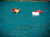 Two boats floating on lake — Stock Photo