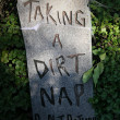 Tombstone 'Taking a dirt nap' — Stock Photo