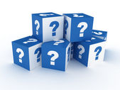 Question cube on white background — Stock Photo