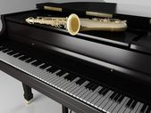 Classic piano with saxophone — Stock Photo