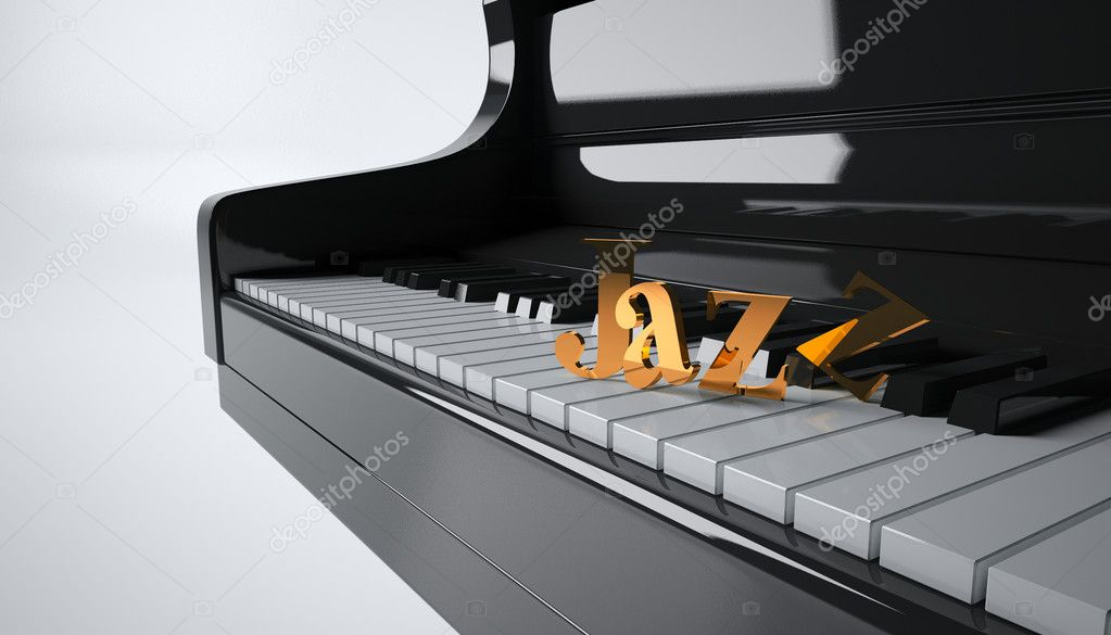 Hi resolution render of piano keyboard with a 3d extruded text — Stock Photo #6566446