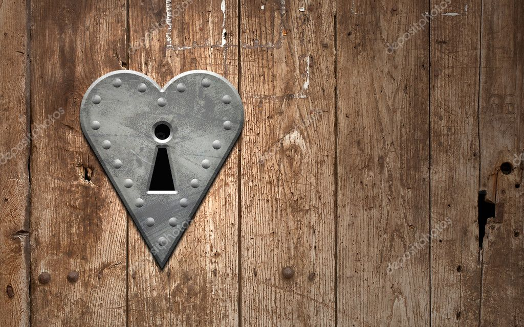 Heart Keyhole On A Wooden Door Stock Photo
