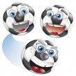 Set of footballs with human face - Stock Vector