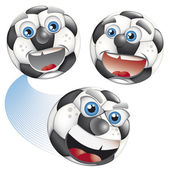 Set of footballs with human face — Stock Vector