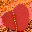Red heart with beads - Stock Photo