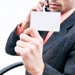 Business card with business man — Stock Photo
