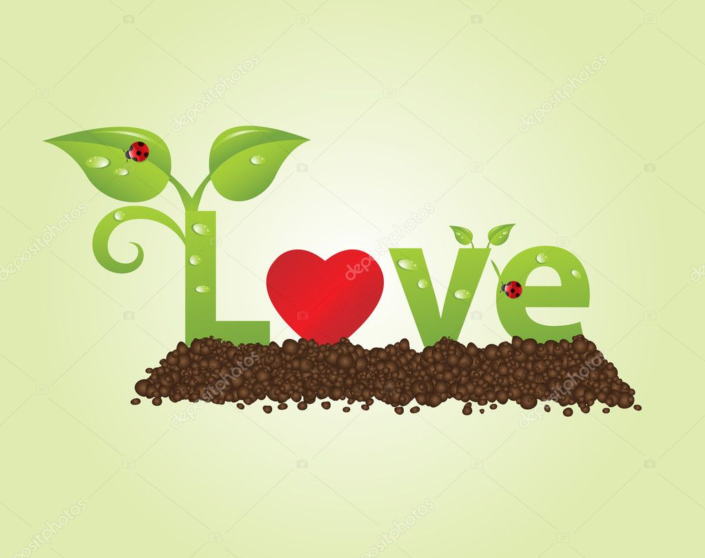 Big love caption in natural style with ladybugs — Stock Vector #6300399