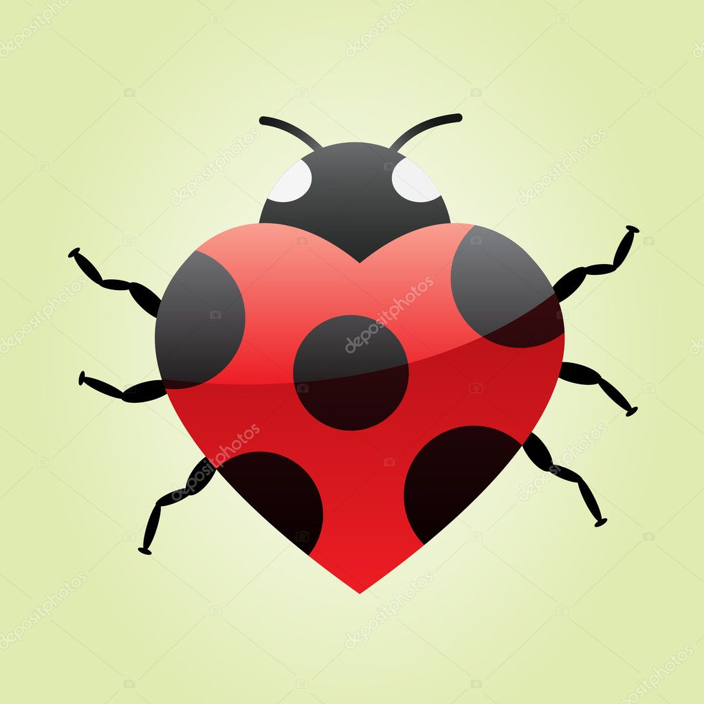 Big heart red ladybug on green background — Stock Vector #6331822