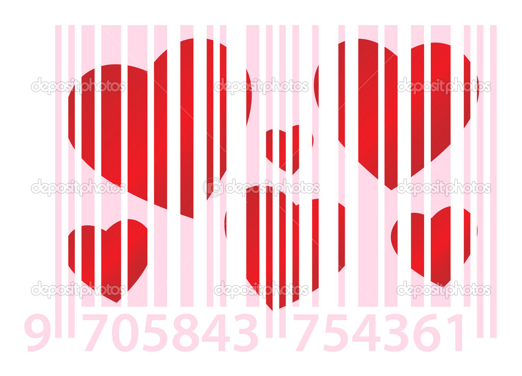 Red dappled hearts on white background with pink ean code — Stock Vector #6331832