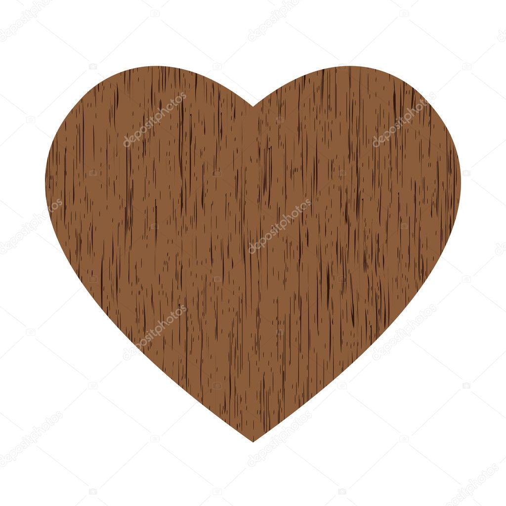 Big brown wooden heart on white background — Stock Vector #6331851