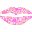 Lips hearts — Stock Vector