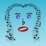 Musical face — Stock Vector