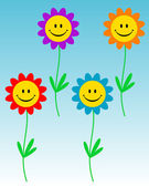 Smiling flowers — Stock Vector