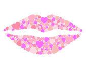 Lips hearts — Stock Vector