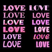 Love captions — Stock Vector