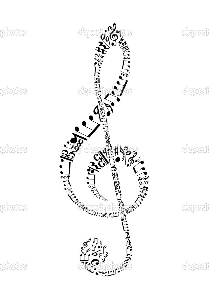 Clef from sheet music symbols — Stock Vector #6374890