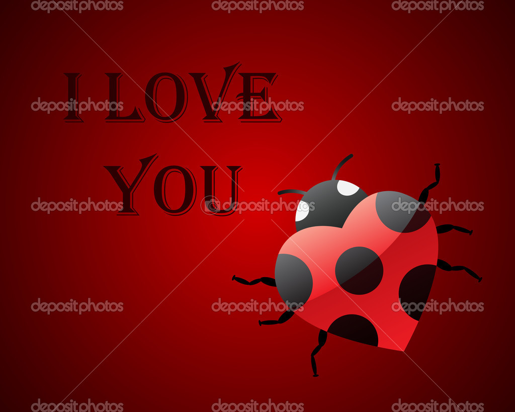 Valentine card I Love You with ladybug — Stock Vector #6374937