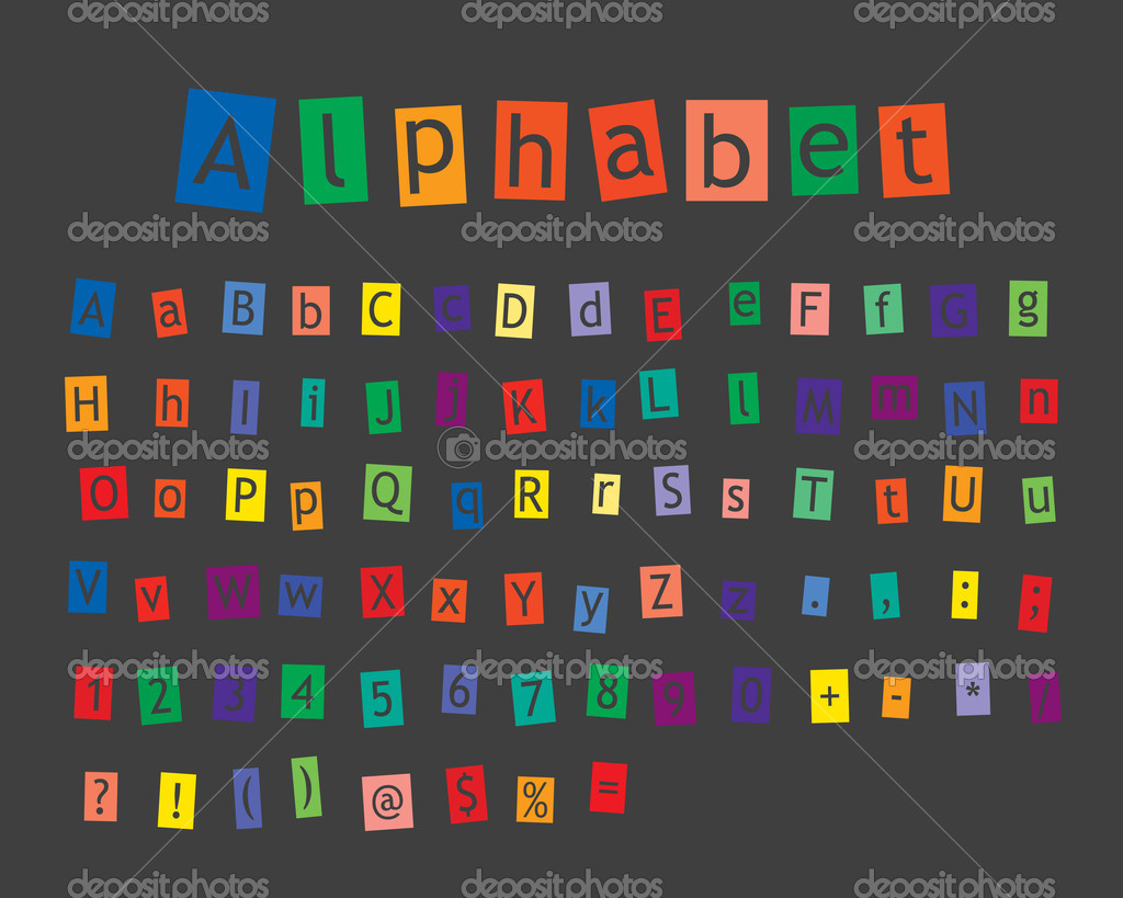 Pastel alphabet on grey background — Stock Vector #6375122