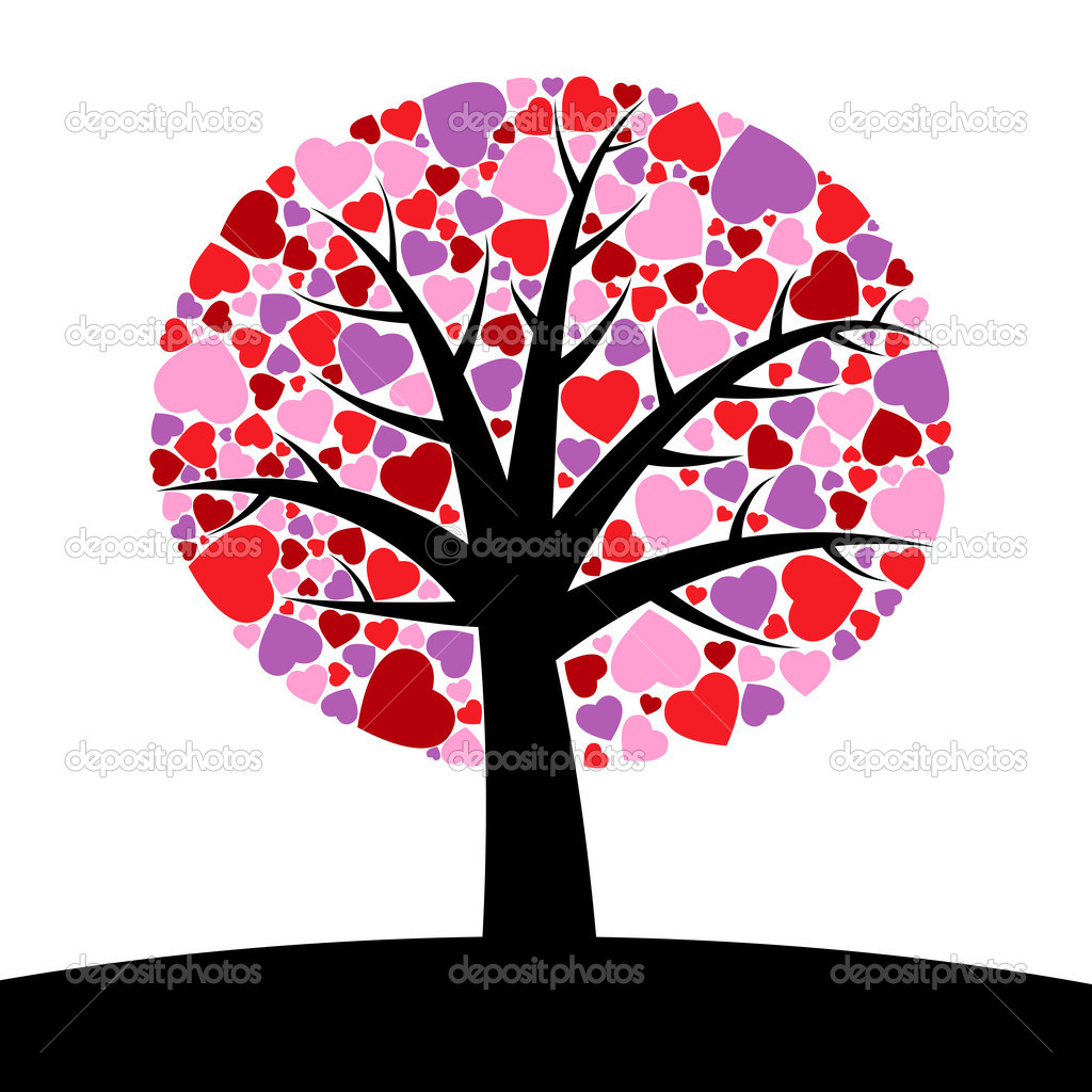 Simple tree with hearts instead of leaves  Stock Vector #6375431