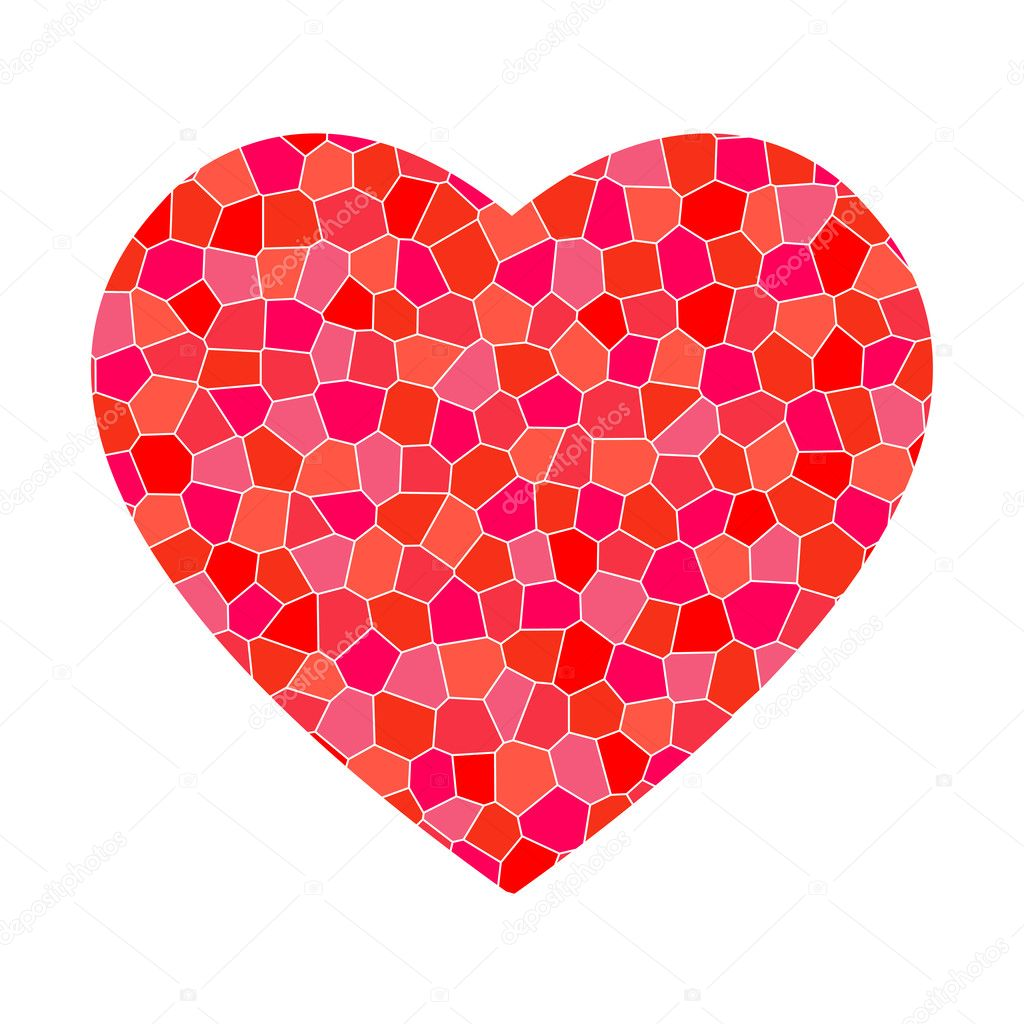 Big red mosaic heart on white background — Stock Vector #6375978