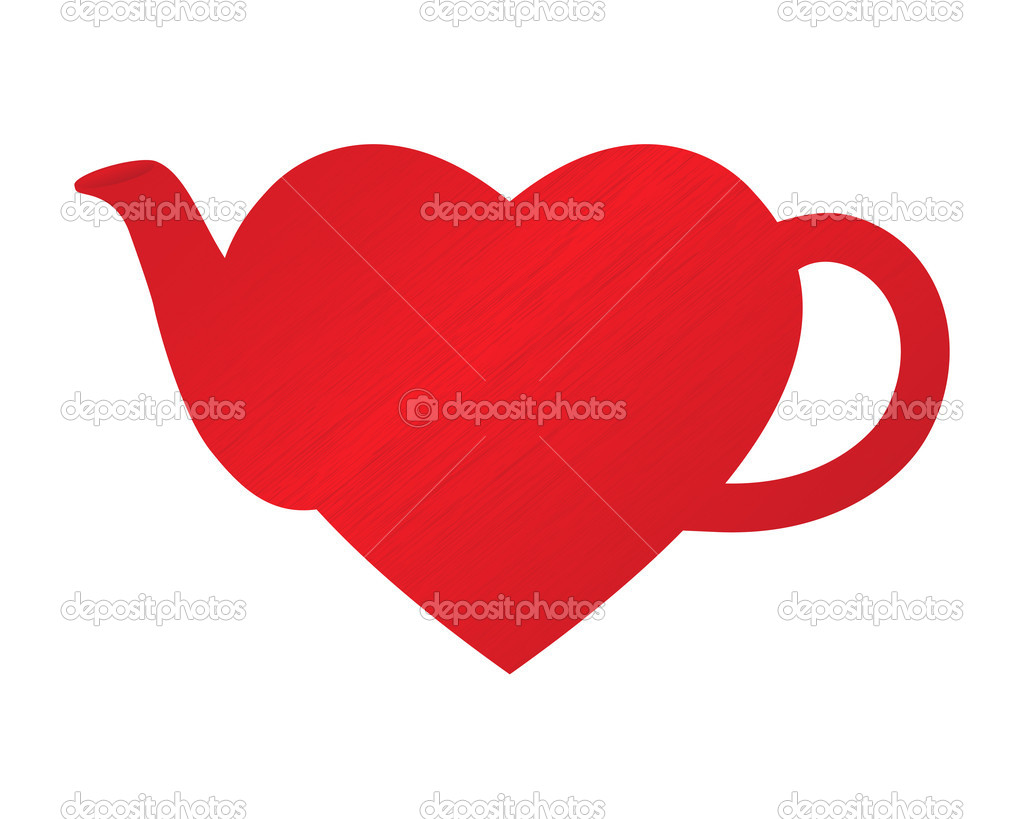 Dappled heart in shape of teapot  Stok Vektr #6376129