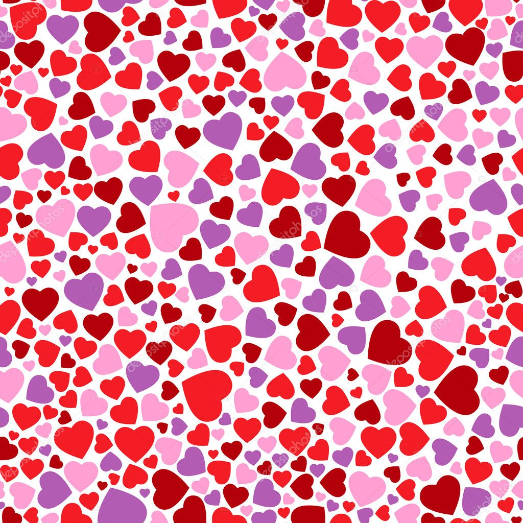 Seamless pattern with red, pink and violet hearts — Stock Vector #6376488
