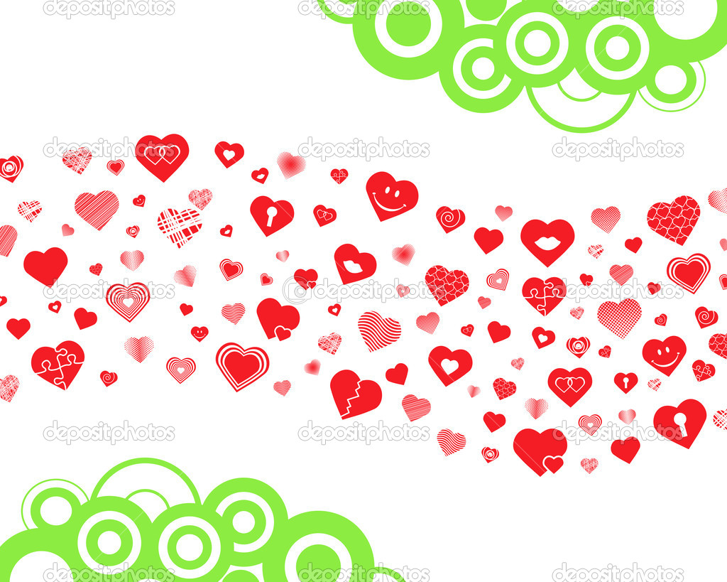 Wave made of hearts with additional circles — Stock Vector #6376524