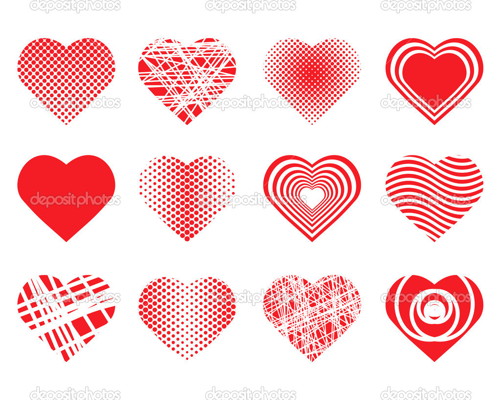 Collection of vector hearts — Stock Vector #6376540